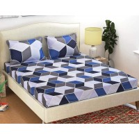 GLACE COTTON MULTI COLOURED BEDSHEET WITH 2 PILLOW COVERS SET FOR DOUBLE BED