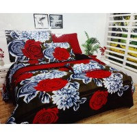 FULL DOUBLE BED SHEET IN 3D FLORAL DESIGN WITH 2 PILLOW COVERS