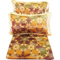 FLORAL DESIGN DOUBLE BEDSHEET IN SILK WITH TWO PILLOW COVERS