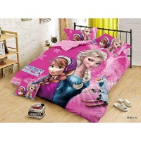 PINK COLOR 3D PRINTED FROZEN GIRLS COTTON SINGLE BEDSHEET WITH 1 PILLOW COVER SET