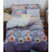 NATURAL FLORAL PRINTED COTTON SINGLE BED SHEET / BED SPREAD WITH 1 PILLOW COVER SET