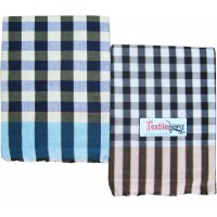 2 PIECES CHECKS SINGLE HANDLOOM BEDSHEET IN PURE COTTON