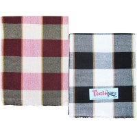 SINGLE COTTON CHECKS BEDSHEET IN PURE COTTON - PACK OF 2