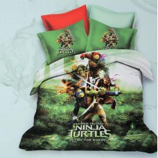 NINJA TURTLES 3D PRINTED SINGLE BED COTTON KIDS BEDSHEET WITH 1 PILLOW COVER SET