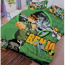 PURE COTTON KIDS SINGLE BED BEN 10 BEDSHEET WITH 1 PILLOW COVER SET