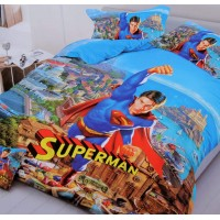 MULTI COLOR SUPERMAN  3D PRINTED COTTON SINGLE BEDSHEET WITH 1 PILLOW COVER