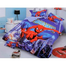 SPIDERMAN THEME 3D PRINTED COTTON SINGLE BEDSHEET WITH 1 PILLOW COVER SET