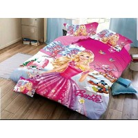 BARBIE 3D PRINT QUEEN SIZE BEDSHEET WITH 1 PILLOW COVER SET