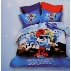 GLACE COTTON 3D PRINTED THE SMURFS SINGLE BED BEDSHEET WITH 1 PILLOW COVER