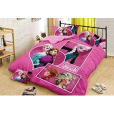 PINK FROZEN 3D CARTOON SINGLE BED BEDSHEET WITH 1 PILLOW COVER