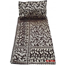 BROWN COLOR VELVET THICK  SINGLE BEDSHEET EXCLUSIVE LEAFY DESIGN  WITH 2 PILLOW COVERS
