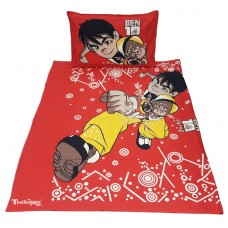 BEN 10 PRINT RED SOFT  COTTON SINGLE BEDSHEET WITH 2 PILLOW COVERS SET