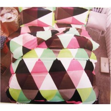 Colorful Checks Design 100% Cotton Single Bedsheet Set / Soft Cotton Bed Cover with pillow cover