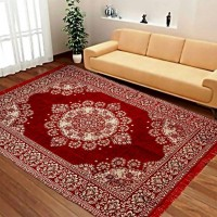 Red Large Size Chennile Velvet Carpet / Soft Foldable Hall Carpet 6 * 9 - Pack of 1