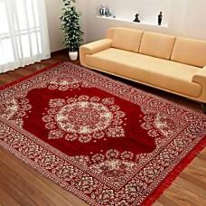 Red Large Size Chennile Velvet Carpet / Soft Foldable Hall Carpet 6 * 9 - Pack of 1