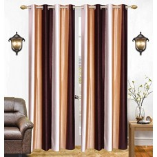 Lining stripe door curtain in brown and cream combination