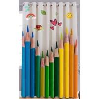 Pencil print window curtain 2 pieces minimum order