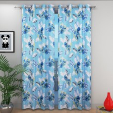 Blue color flower design door curtain