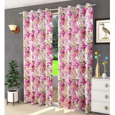 Red combination door curtain in thick quality flower printed