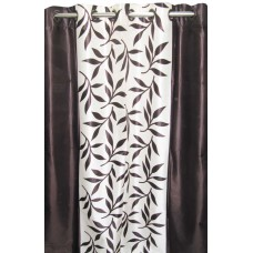 BROWN COLOR FANCY FLORAL CURTAIN SET