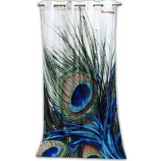 Peacock feather print window curtain