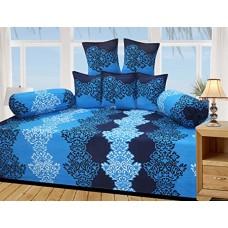 Blue Colour Floral Design Printed Polycotton 6 Piece Diwan Set