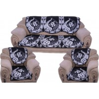 BLUE UNIQUE DESIGNER VELVET SOFA AND CHAIR COVER SET OF 6 PIECES