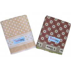 POLKA DOTS COTTON BATH TOWEL  AND FLORAL MAYUR PANKH COTTON BLANKET PACK OF 2