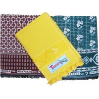 SMALL DESIGN COTTON CHADDARS AND VELVET BORDER COTTON BATH TOWEL - PACK OF 3
