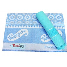 ATTRACTIVE SMALL JACQUARD DESIGN CHADDAR AND VELVET BORDER COTTON BATH TOWEL - PACK OF 2