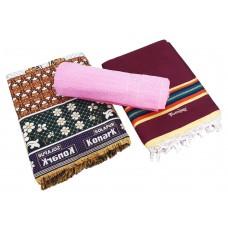 Regular Size Solapur Chaddar / Solapur Plain Satranji With Towel In Pure Cotton  - Pack Of 3