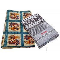Pure Cotton Double Bedsheet With 2 Pillow Covers And Cotton Ethnic Designer Single Solapur Chaddar / Blanket - Pack Of 2