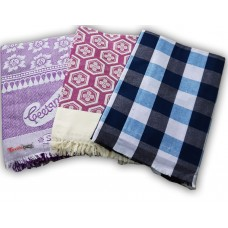 BEDSHEET IN COTTON SQUARE PATTERN / POLY COTTON CHADDAR AND SOFT FLORAL  TOP SHEET -  PACK OF 3
