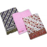 MAYUR PANKH CHADDAR BEAUTIFUL BEDSHEET CUM TOP SHEET AND TERRY TOWEL SET - PACK OF 3