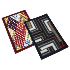 GEOMETRICAL DESIGN DOOR MATS IN RECANGULAR SHAPE / ANTI SKID BATH MATS  - PACK OF 2