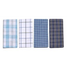 Men's Pure Cotton Lungi in Assorted White and Blue  Color / Checks Pack of 4