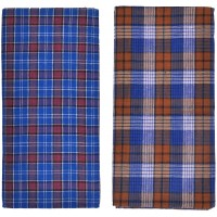 Men's Blue Lungi's in Checks / Best Quality Cotton / Pack of 2 Blue Cotton  - 2 mtrs