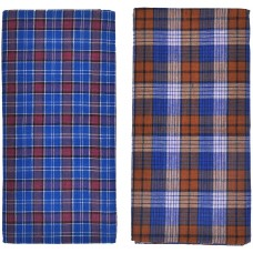 Men's Blue Lungi's in Checks / Best Quality Cotton / Pack of 2 Blue Cotton