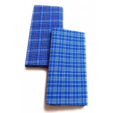 Blue Handloom Cotton Checks Lungi's for Men / Assorted Checks - Pack of 2 Blue Cotton- 2.25 metres
