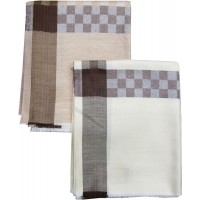 BLOCK DESIGN LUXURIOUS MEN'S SHAWL WITH WOVEN BORDER SET OF 2