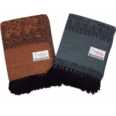 KASHMIRI WOMENS WOOLEN SHAWL / STOLE  WITH FLORAL SELF DESIGNS/ FANCY EXCLUSIVE SHAWLS - PACK OF 1