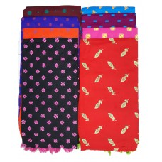 LADIES  STOLE IN PURE COTTON FLORAL DESIGNS/ FANCY BRIGHT COLORS STOLES - PACK OF 2