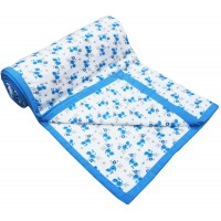 BLUE FLORAL PATTERN PURE COTTON SINGLE DOHAR A/C BLANKET PACK OF 1