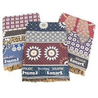 BEAUTIFUL MIX COLOR PEACOCK AND FLORAL DESIGNS 100% COTTON CHADDAR SET OF 3 / CLASSIC DESIGNER SET