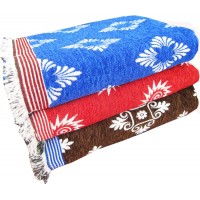 BLANKETS IN ATTRACTIVE FLORAL DESIGN SOLAPUR VELVET COTTON CHADDAR - PACK OF 3