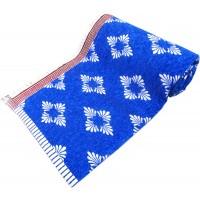 VELVET COTTON BLUE COLOR SOLAPUR CARPET CHADDAR  PACK OF 1