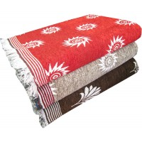 JACQUARD DESIGN VELVET COTTON SOLAPUR CHADDAR BLANKET SET OF 3