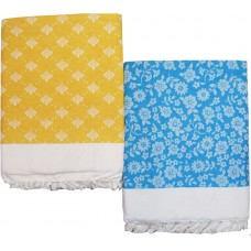 SOFT COTTON LIGHT WEIGHT SOLAPUR CHADDAR CUM TOP SHEET IN FLOWER DESIGN ( PACK OF 2 )