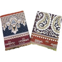ABSTRACT DESIGN SOLAPUR CHADDAR COTTON BLANKETS  IN PEACOCK DESIGN - PACK OF 2
