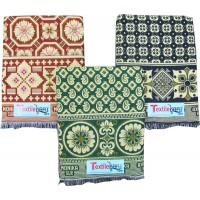 FLORAL BLOCK DESIGN SOLAPURI  100%  COTTON CHADDAR / BLANKET AT OFFER RATE - SET OF 3 CHADDARS